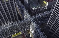 NYC Grid: Continuous Skyscraper Above Streets