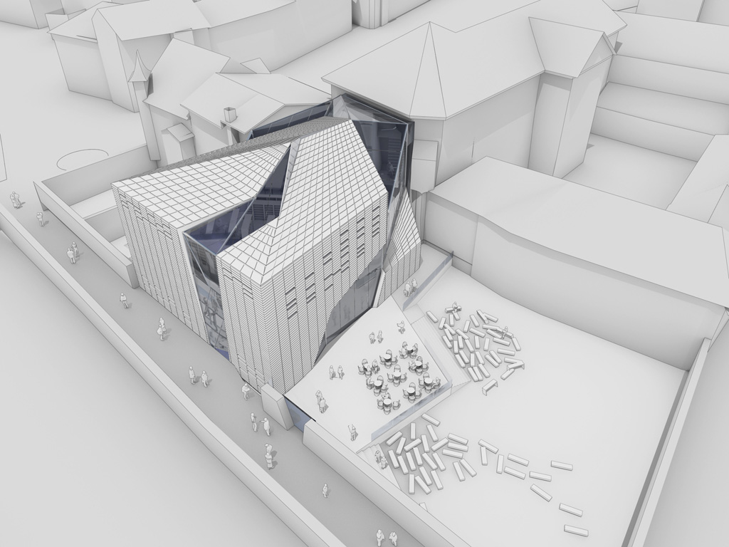 Brixen public library italy aquilialberg redchalksketch for Space defining elements in architecture