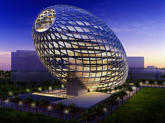 Egg shaped office building in mumbai blends natural shape for Structure in architecture the building of buildings