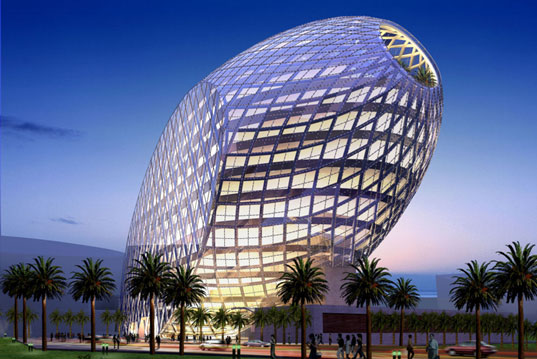 Egg shaped office building in mumbai blends natural shape Indian building photos