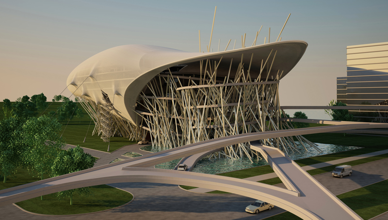 Allegory of soaring architecture car service station for Architecture hybride
