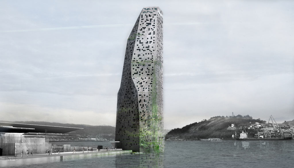 architecture review jean nouvel s granite monolith covered with vegetation overlooks the port. Black Bedroom Furniture Sets. Home Design Ideas