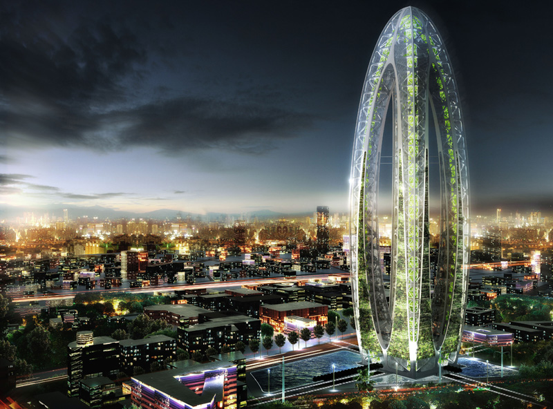 Bionic arch is a futuristic green skyscraper for taichung Concept buildings