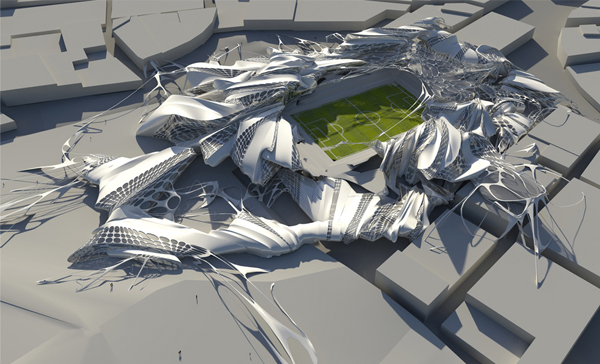 Stadium proposal in athens mutates according to time and for Architecture contemporaine definition