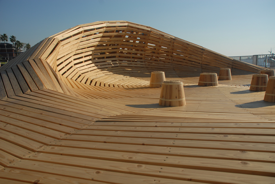 Crater lake is a parametric designed wooden pavilion in for Architecture wood
