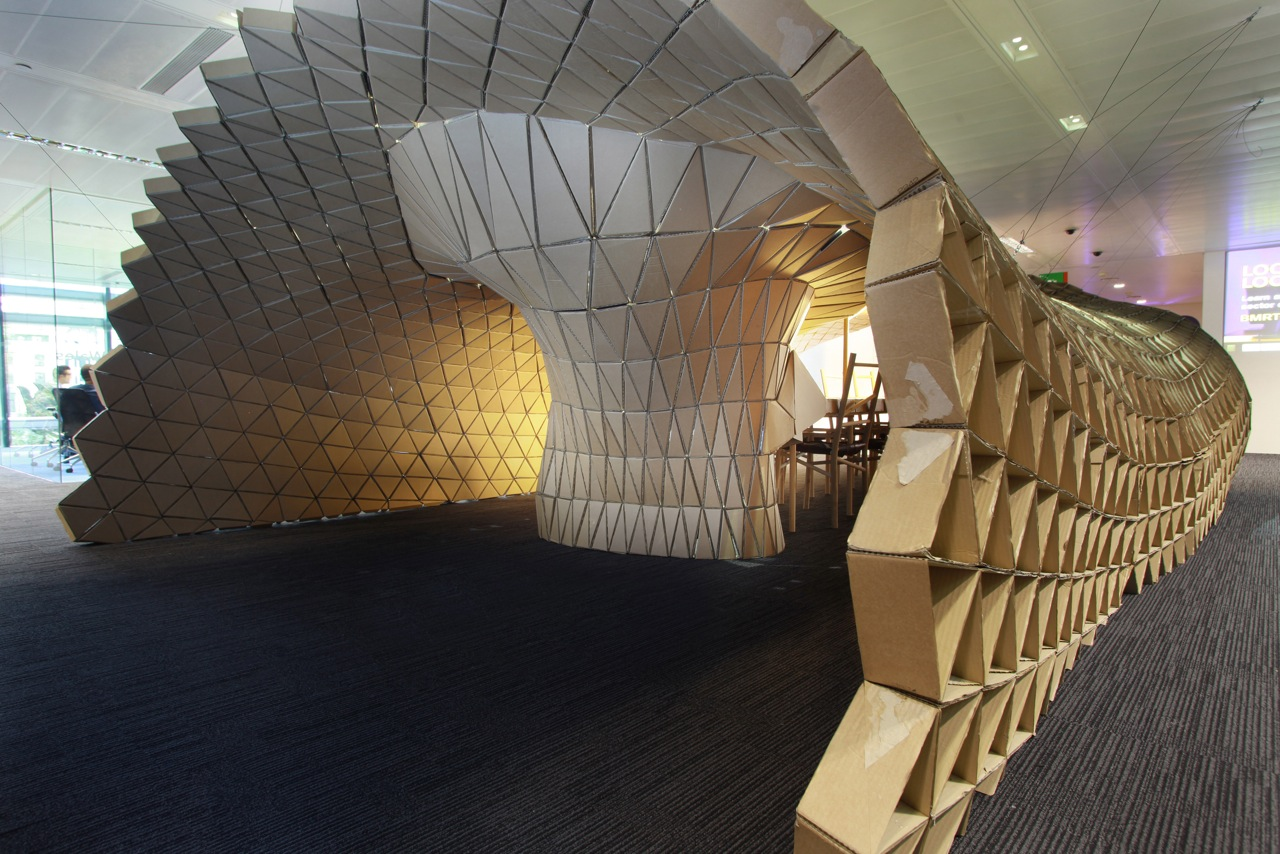 Recycled Cardboard Transformed Into A Parametric Designed