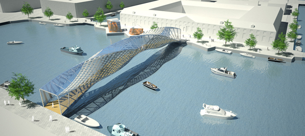Architecture review helixxx pedestrian bridge for amsterdam for Design bridge amsterdam