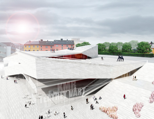 Folding Architecture  Plassen Cultural Center in Norway / 3XN Architects