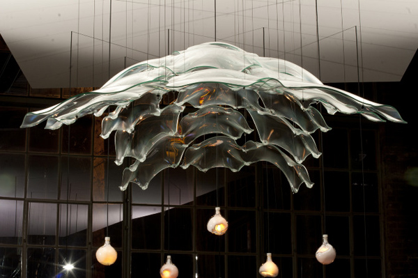 Glass Cast, lighting design, glass blowing technique, glass chandelier