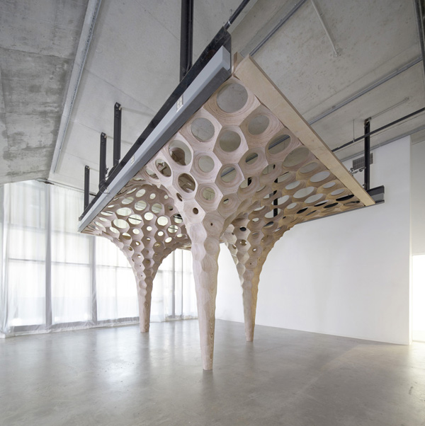 La Voûte de LeFevre Installation, Matter Studio, digital fabrication, plywood sculpture, patterns