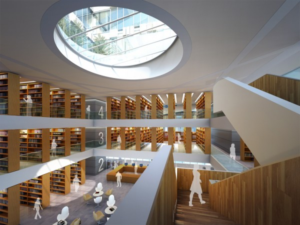 Solid void relationship organizes tsinghua law library for Solid void theory architecture