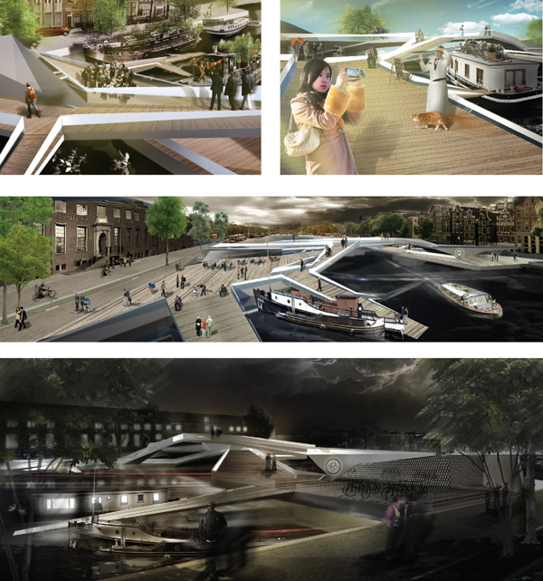 Pedestrian bridge intensifies tourist local interactions for Design bridge amsterdam