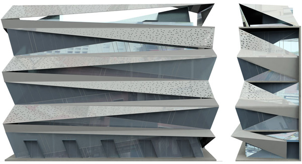 A cut and fold brise soleil for the peace pentagon in new Folding facade