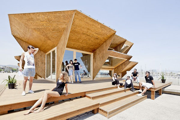 Endessa Pavilion IAAC, solar facade, wood architecture, sustainable architecture, photovoltaics, student work