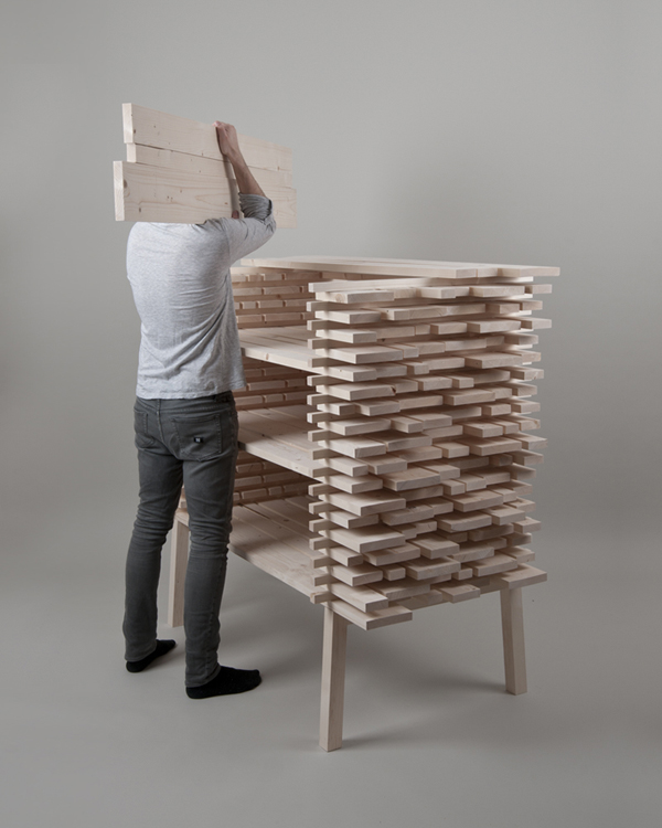 Stacked Wood Used To Make A Chair and Cabinet - eVolo  Architecture ...