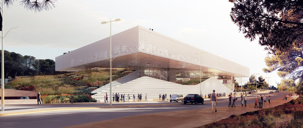 National Library of Israel, ODA Architecture, library design, public plaza, monolith architecture