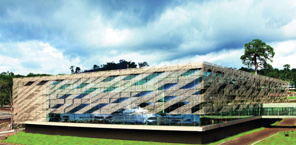 Sipopo Congress Center Tabanlioglu Architects, congress center, africa architecture, semi-transparent facade, mesh, pattern facade