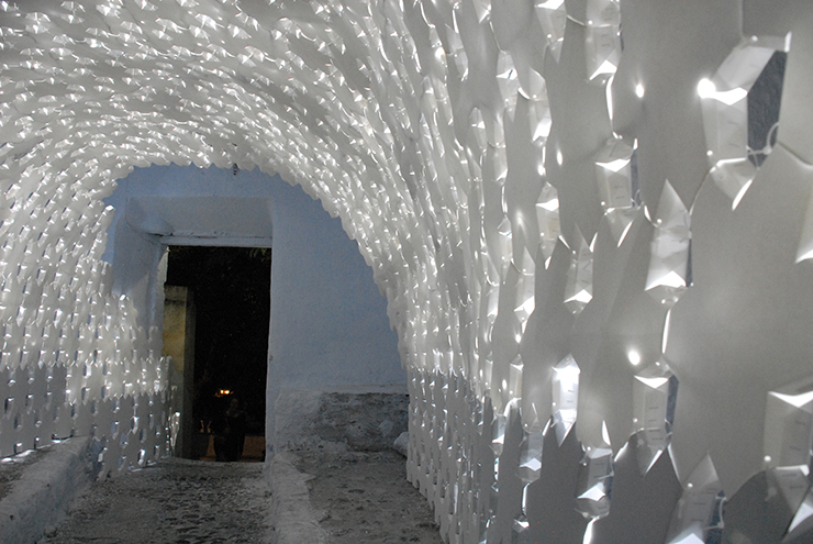 daphne installation for santorini biennale built entirely with