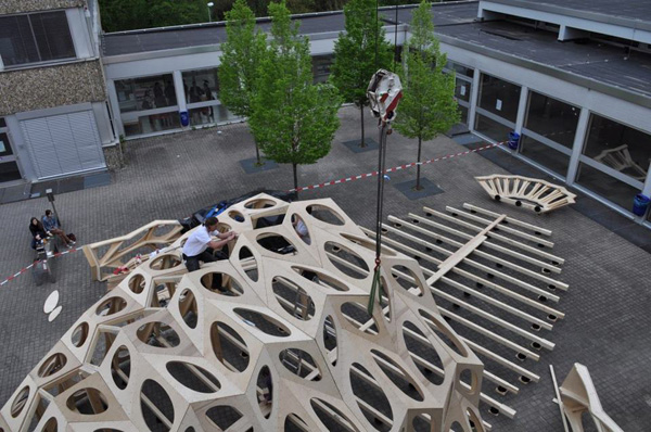 Bowoos Temporary Pavilion, Saarland University, marine biodiversity, lightweight material, wooden pavilion, shell-like structure, student work, german contemporary architecture