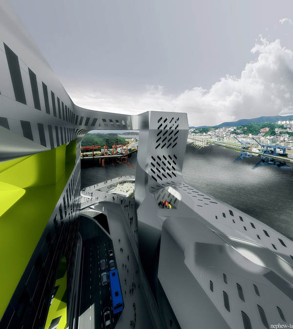 New Keelung Harbor Service Project, Neil M. Denari Architects, Taiwan architecture, ETFE skylights, stainless steel mesh façade, port terminal