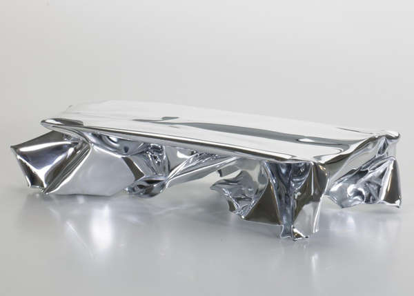 Fredrikson Stallard, Crush Furniture Collection, metal tables, furniture design, aluminium furniture