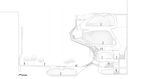 Dance center, Nikita Troufanov, student work, cybernetic architecture, perforated skin façade, bio mechanical design, cultural architecture, performance architecture