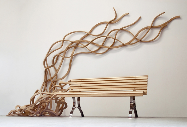 Pablo Reinoso, Carpenters Workshop Gallery, Spaghetti Bench, furniture design, wood furniture, wood bending, public benches design