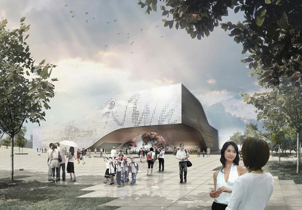 DQZ Cultural Center, Daqiuzhuang, Holm Architecture Office, perforated façade, photovoltaic cells, geothermal heating, natural ventilation, cultural center, multi-program building