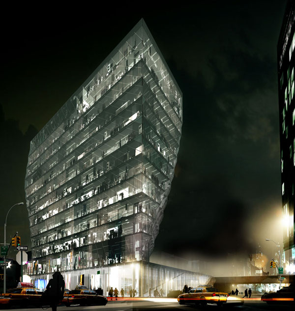 Solar Carve Tower, Studio Gang Architects, innovative tower, crystal architecture, glass façade, new york architecture, high-rise building