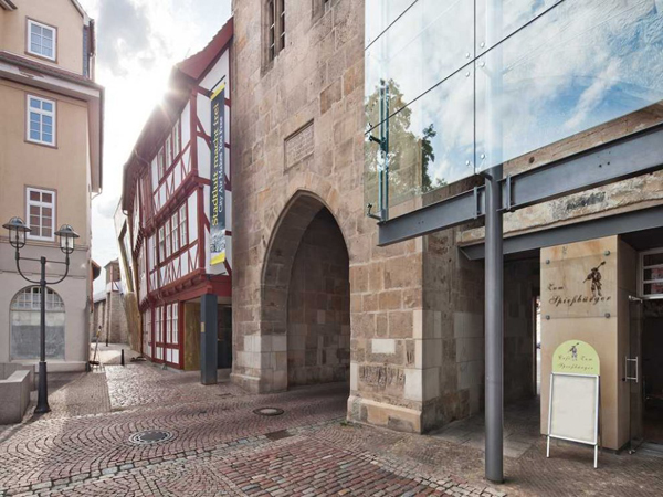 german contemporary architecture, Museum of Historical Marksmanship, half-timbered structure, timber architecture, reconstruction design, exhibition space, museum architecture