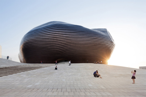 Ordos Museum, Ordos, MAD Architects, Mongolia, China, museum design, master plan, metal louvers, polished metal cladding, Gobi Desert