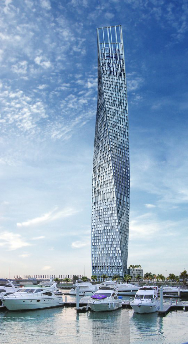 SOM, Skidmore, Owings & Merrill, Dubai, United Arab Emirates, high-rise, skyscraper, sustainable design, wind tunnel, landmark architecture, luxury design