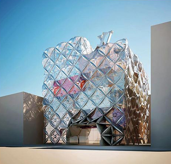 Fashion, Louis Vuitton, Manuelle Gautrand, Manuelle Gautrand Architecture, Seoul, South Korea, landmark architecture, glass panels, transparence