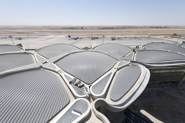 Queen Alia International Airport, Amman, Jordan, Foster + Partners, passive design, passive environmental control, thermal mass, concrete, modular design, tessellated canopy, sustainable design