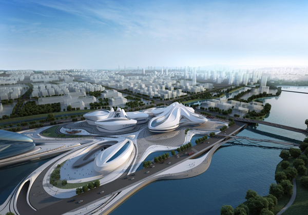 Changsha Meixihu International Culture & Art, China, Zaha Hadid, Zaha Hadid Architects, winning proposal, organic architecture, organic forms, cultural facilities, museum design