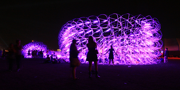 SCI-Arc, Benjamin Ball,Gaston Nouges, Andrew Lyon, Ball-Nouges Studio, Coachella Festival, full-scale mock-up, flexible design, adaptable, large-scale installation, temporary structure