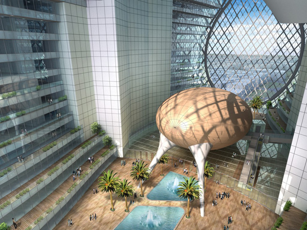 Technosphere, James Law Cybertecture, Dubai, United Arab Emirates, UAE, sustainable design, spherical form, reduced carbon emission, diagonal grid structure
