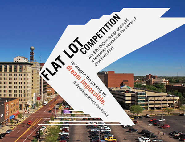 Flat Lot Competition, American Institute of Architects, AIA, Flint, Michigan, United States, temporary features, summer pavilion, public amenities, reflective panels, mirror cladding
