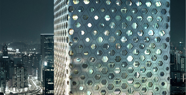 Facade pattern architecture  Honeycomb Facade for Softer Urban Landscape / Sinosteel, Tianjin ...