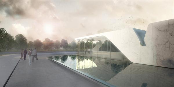 Asymptote Architecture, The Beukenhof Auditorium and Crematorium, Schiedam, Netherlands, fluid form, perforated envelope, progressive architecture, architectural award, progressive architecture award