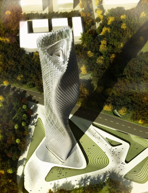 Taiwan, Taiwan Wind Tower, Decode Urbanism Office, sustainable design, wind driven generators, flexible façade, eco architecture, decoder