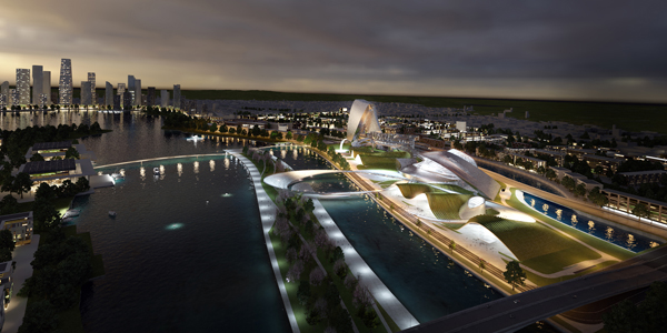 Coop Himmelb(l)au, Grand Theatre and International Culture & Art Center, Changsha, China, Changsha Meixi Lake, sustainable design, architecture of the spectacle, natural landscape, undulating structures