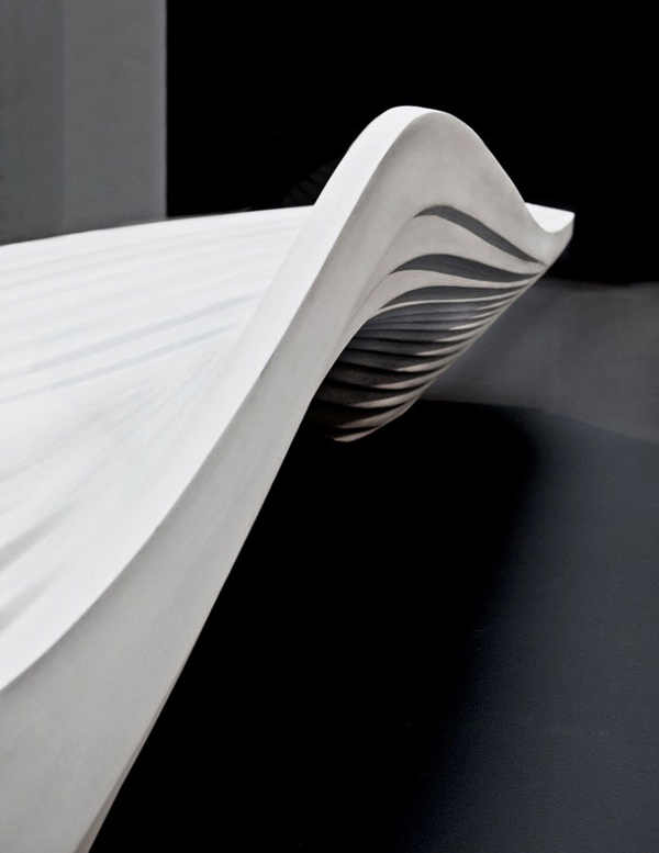 Zaha Hadid, Milan Design Week, Serac bench, Lab 23, fluid design, resin quartz, urban furniture, street furniture, environmentally friendly