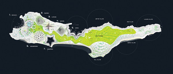 Zira Island, BIG Architects, Azerbaijan, sustainable design, master plan, urban planning, artificial ecosystem, mountain development