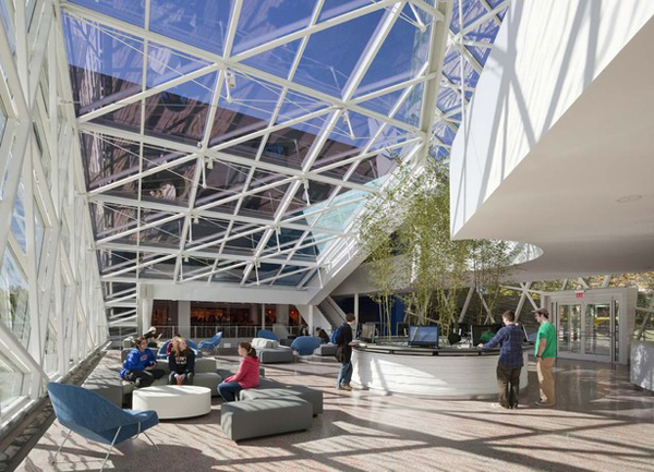 Ikon.5 Architects, Campus Common, The State University of New York, New Paltz, New York, expansion, addition, glass structure, ceramic fritted glass, common living room, sustainable design