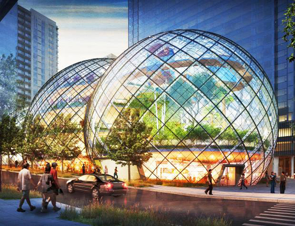 NBBJ, Amazon Seattle Headquarters, Seattle, US, Amazon, green design, sustainable design, dome, sustainable building, solar power