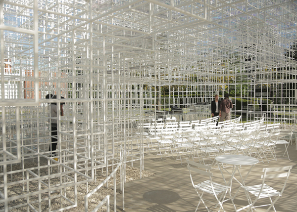 Serpentine Gallery Pavilion, 2013 Serpentine Gallery Pavilion, Sou Fujimoto, Kensington Gardens, England, steel poles, blurry structure, white steel structure, temporary structure