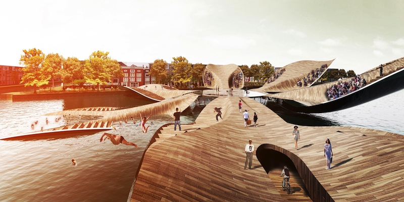 Versatile tulip pedestrian bridge in amsterdam evolo for Design bridge amsterdam