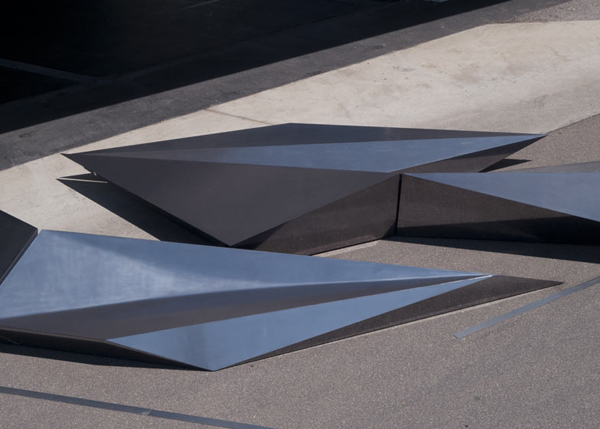 Zaha Hadid, Zaha Hadid Architects, Swarovski, Vitra Campus, Germany, polished steel, Prima, outdoor installation, faceted installation, urban furniture
