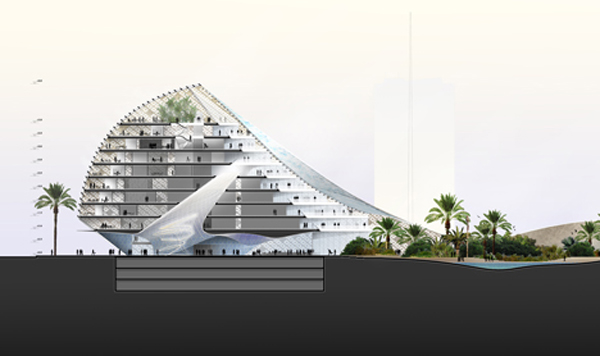ARTP Headquarters, architectural competition, Mario Cucinella Architects, Algeria, sustainable design, passive cooling, bioclimatic architecture, eco architecture, iconic architecture, sand dunes